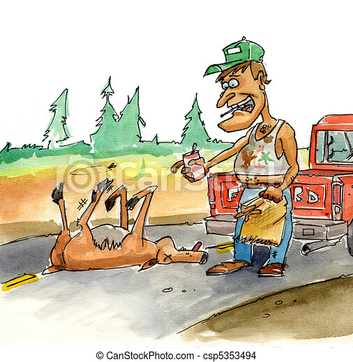 roadkill a man with a sack stopping to pick up a road Donkey Clip Art Jackass Head Outline