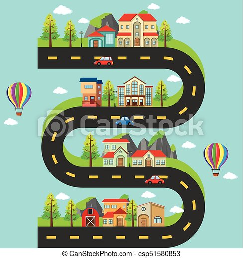 Roadmap With Buildings And Cars On The Road Illustration