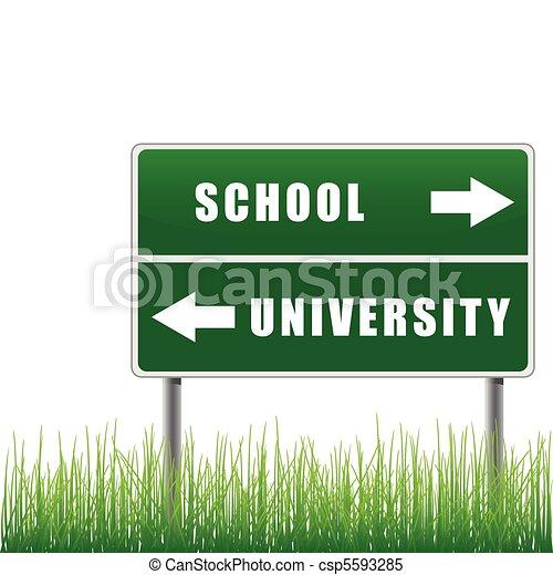 Roadsign school university. - csp5593285