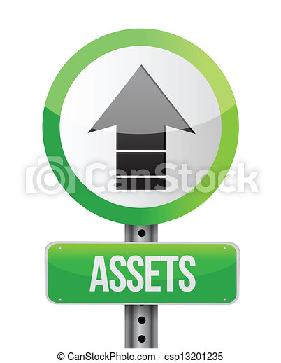 roadsign with a increasing assets concept - csp13201235