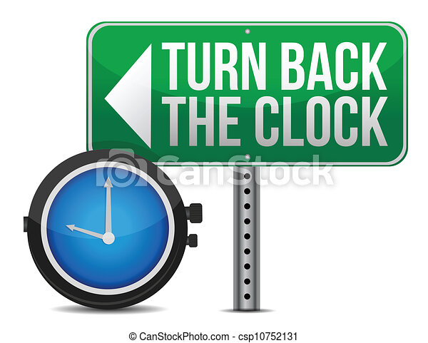 roadsign with a turn back the clock - csp10752131