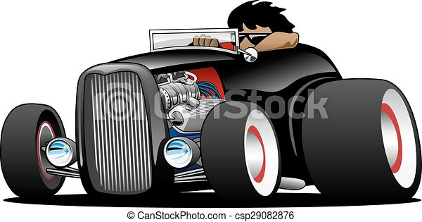 roadster, rue, salut, classique, tige, garçon - csp29082876