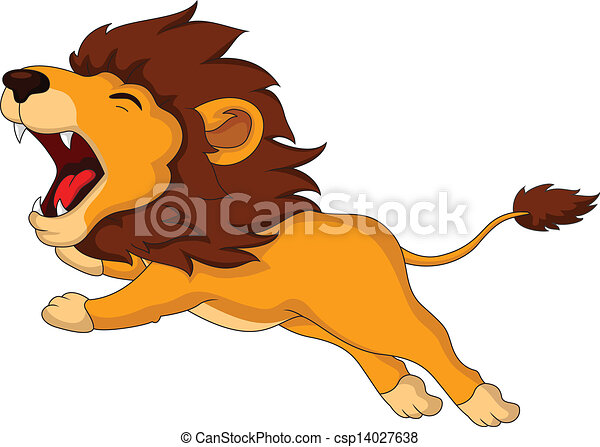 Line Drawing Of Lion : Vector illustration of roaring cartoon lion vectors search clip