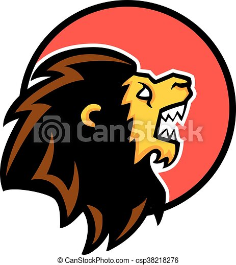 roaring lion circle badge a vector illustration of lion vectors rh canstockphoto com  cartoon roaring lion clipart