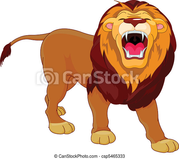 roaring lion fully editable illustration of a roaring vectors rh canstockphoto com African Lion Roaring how to draw cartoon lion roaring