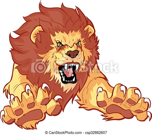 Roaring Lion Leaping Forward Vector - csp32862607