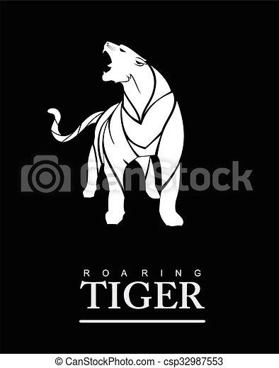 roaring tiger full body - csp32987553