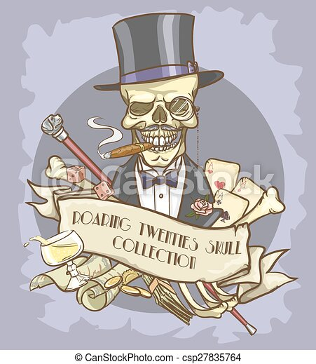 Roaring Twenties Skull label - csp27835764