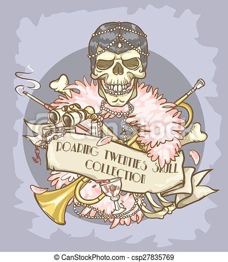 Roaring Twenties Skull label - csp27835769