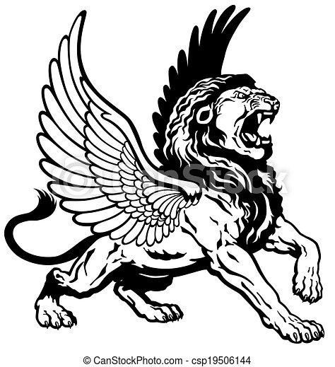roaring winged lion - csp19506144