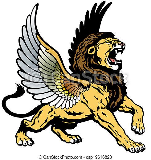 roaring winged lion - csp19616823
