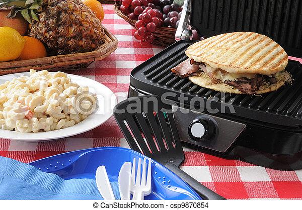 Roast beef and swiss cheese panini - csp9870854
