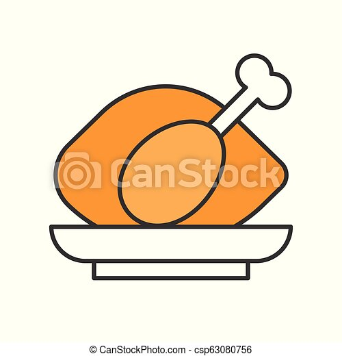 roast chicken, Food set, filled outline icon - csp63080756