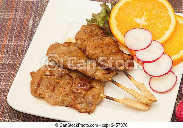 roast pork on a plate - csp13457376