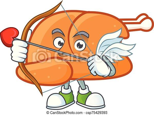 Roast turkey food cartoon with character cupid - csp75429393