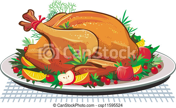 Roast turkey on the plate - csp11595524