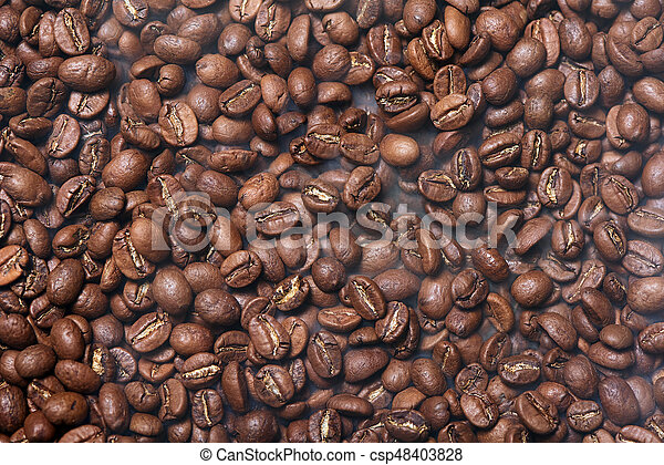 Roasted brown coffee beans - csp48403828