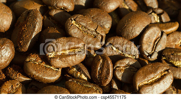 Roasted coffee beans background concept - csp45571175