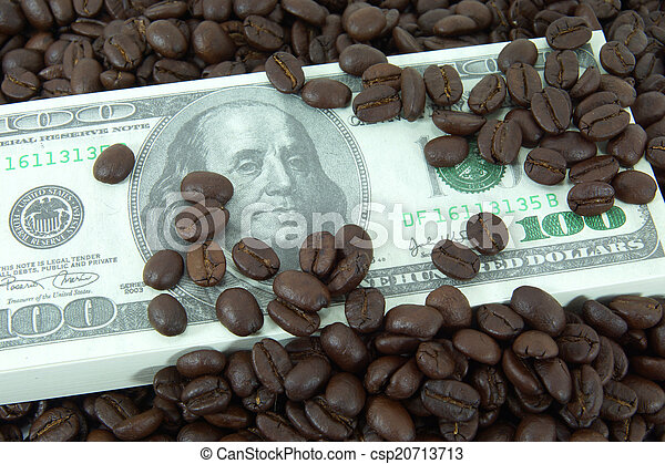 roasted coffee beans on money background. - csp20713713