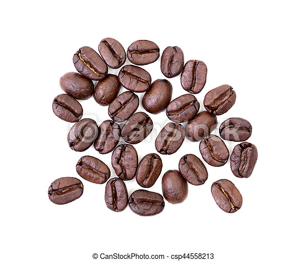 Roasted coffee beans on white background - csp44558213
