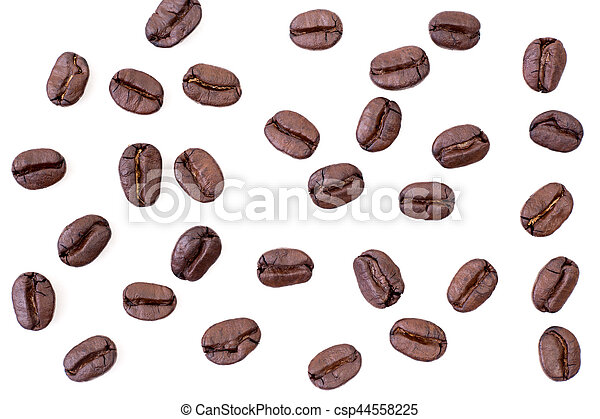 Roasted coffee beans on white background - csp44558225