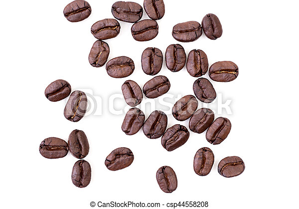 Roasted coffee beans on white background - csp44558208