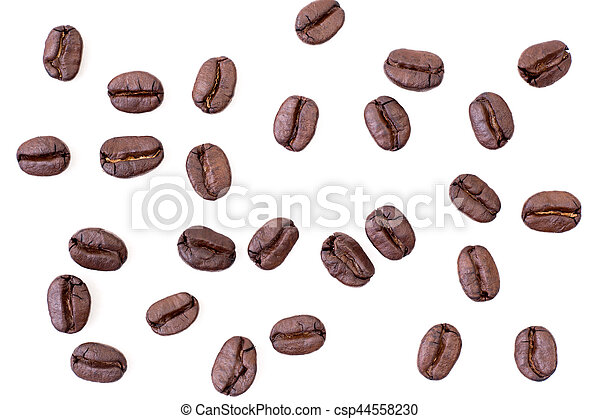 Roasted coffee beans on white background - csp44558230