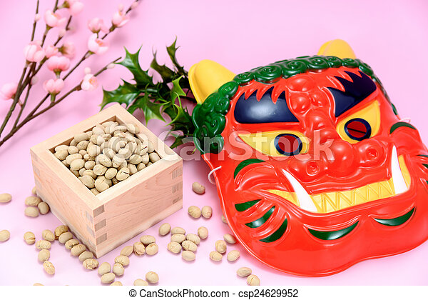 Roasted Soybeans And Holly And Plum Blossoms Japan Of Events Called