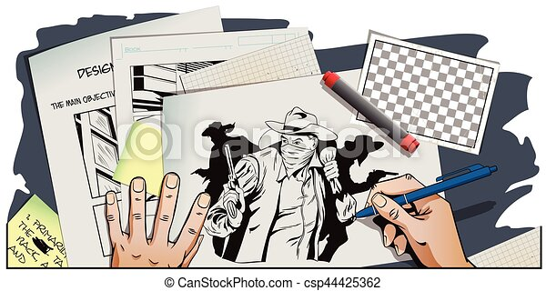 Stock Illustration People In Retro Style Presentation Template Robber Running Away With Money Cowboys Wild West Hand Paints Picture