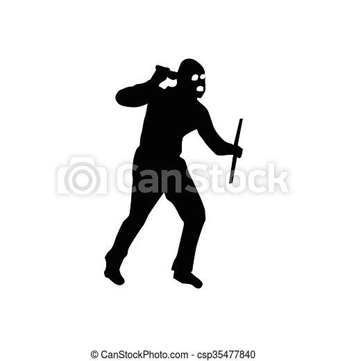 Robber silhouette black - csp35477840