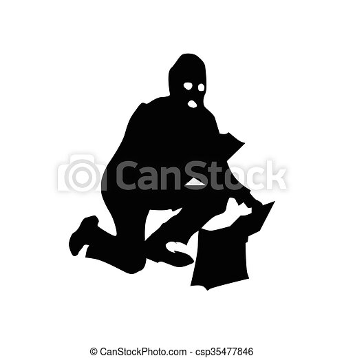 Robber silhouette black - csp35477846