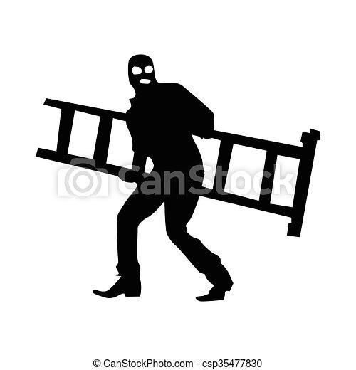 Robber silhouette black - csp35477830