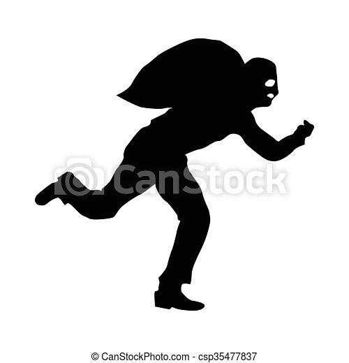 Robber silhouette black - csp35477837