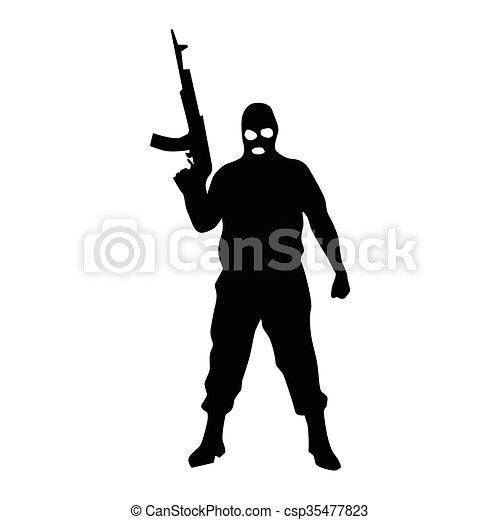 Robber silhouette black - csp35477823