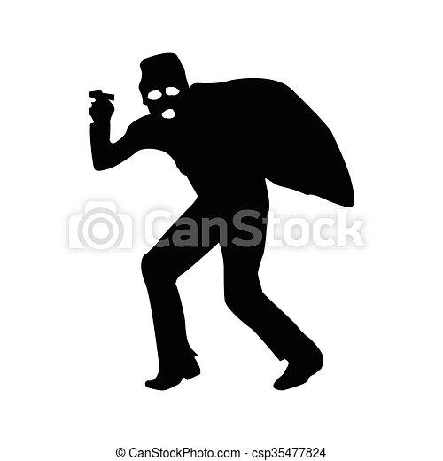 Robber silhouette black - csp35477824
