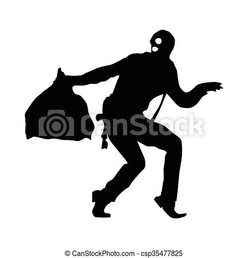 Robber silhouette black - csp35477825