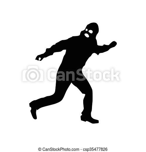 Robber silhouette black - csp35477826