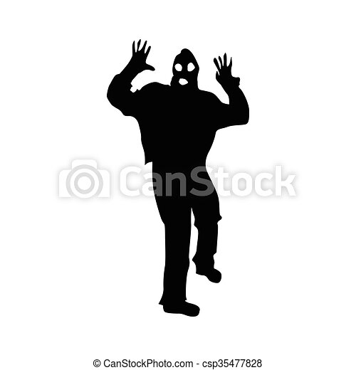 Robber silhouette black - csp35477828