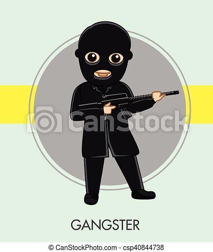 Robber with Gun in Black Suit - csp40844738