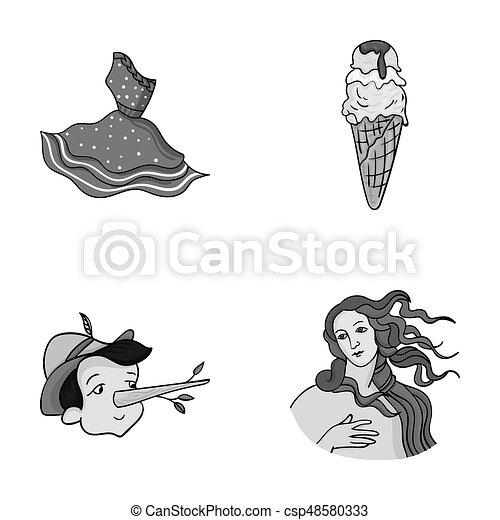 Souvent Dessins de robe, déesse, ensemble, italie, gelato, web., symbole  WX53