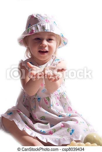 robe, peu, tendu, bras, girl - csp8039434