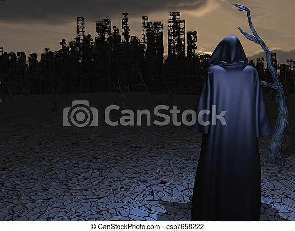 Robed Figure Before Detroyed City - csp7658222