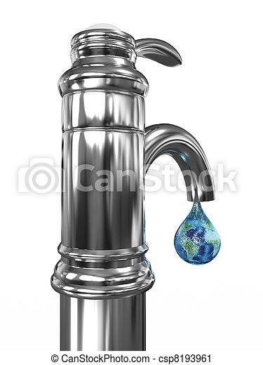robinet eau, image, goutte, planète, earth., 3d - csp8193961
