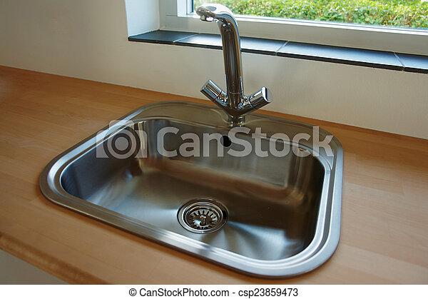 robinet, robinet, moderne, détails, évier