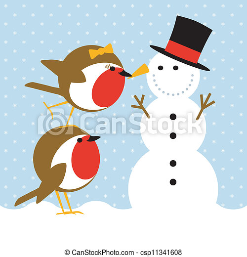robins and snowman - csp11341608