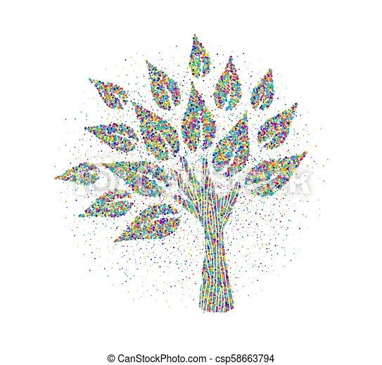 robiony, barwny, drzewo, ręka, cząstki, ludzki - csp58663794