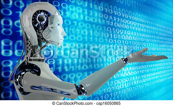 Robot Android Women And Binary Background