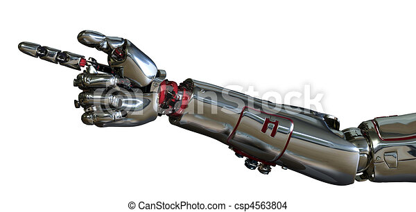 Free Line Art Converter : 3d render of a robot arm pointing. drawing search clip art