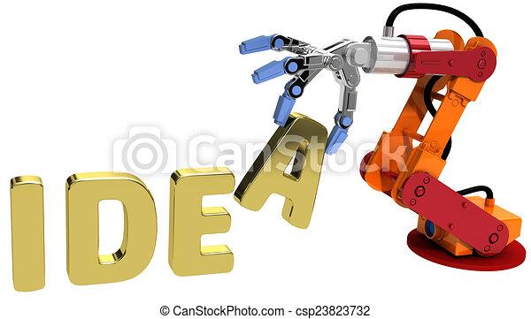 Robot arm technology plan idea concept - csp23823732