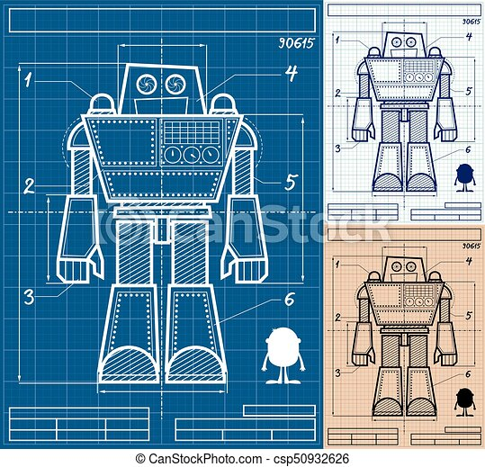 Robot blueprint cartoon cartoon blueprint of giant robot in 3 versions robot blueprint cartoon csp50932626 malvernweather Images